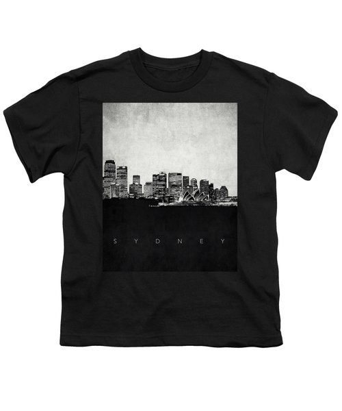 Sydney City Skyline With Opera House Youth T-Shirt by World Art Prints And Designs