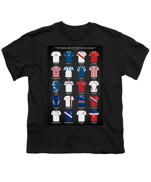 The Evolution Of The Us World Cup Soccer Jersey Youth T-Shirt by Taylan Apukovska