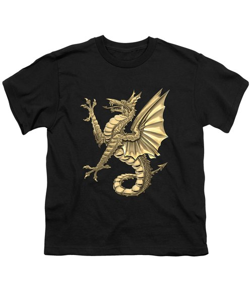 The Great Dragon Spirits - Gold Sea Dragon Over Black Canvas Youth T-Shirt