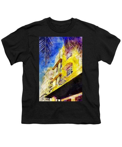 The Leslie Hotel South Beach Youth T-Shirt by Jon Neidert
