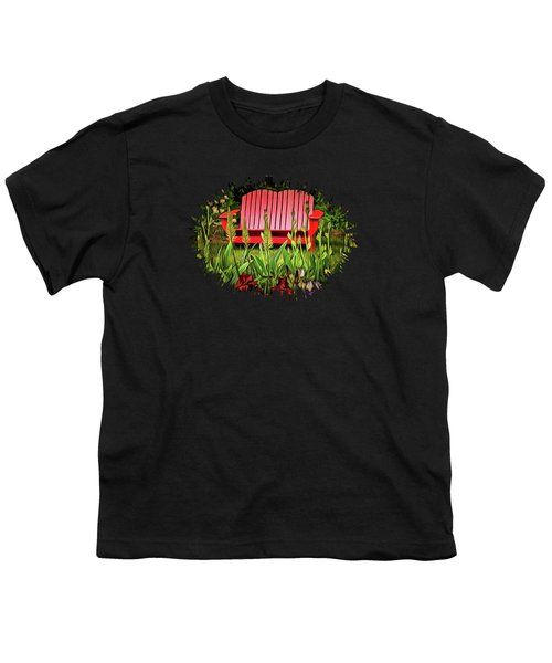 The Red Garden Bench Youth T-Shirt by Thom Zehrfeld