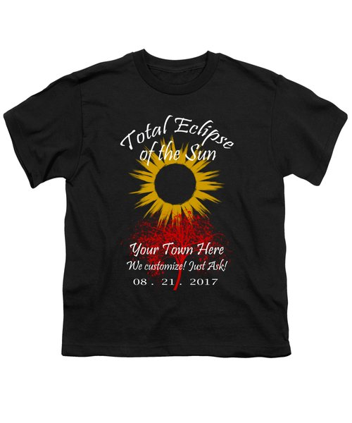 Total Eclipse Art For T Shirts Sun And Tree On Black Youth T-Shirt