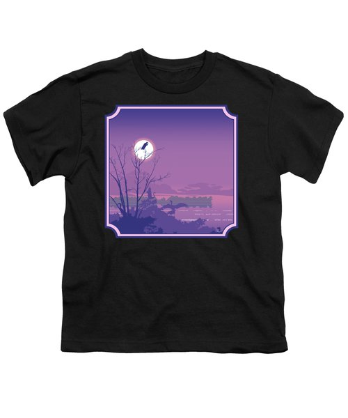 Tropical Birds Sunset Purple Abstract - Square Format Youth T-Shirt