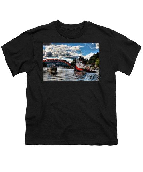 Tugboat At The Rainbow Bridge Youth T-Shirt by David Patterson