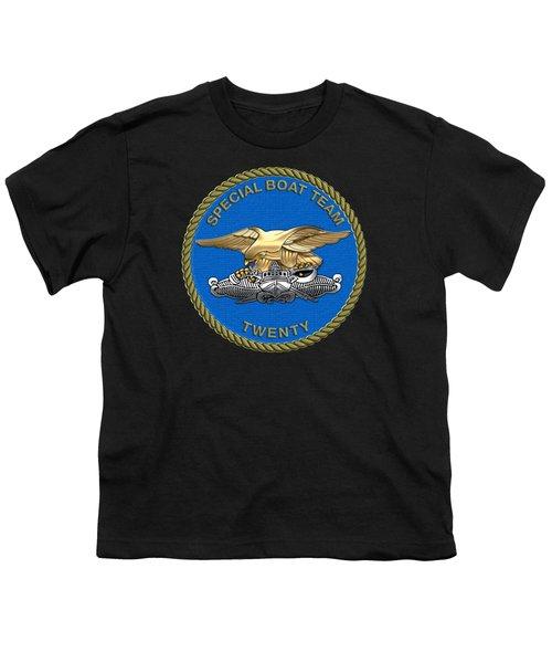 U. S. Navy S W C C - Special Boat Team 20   -  S B T 20   Patch Over Black Velvet Youth T-Shirt