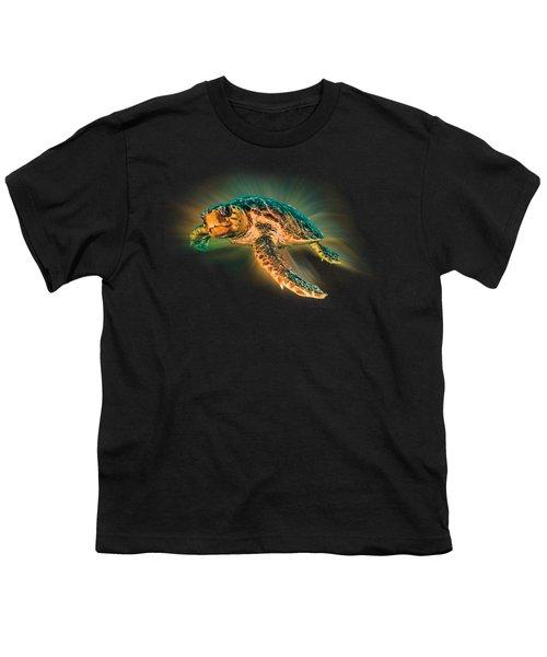 Undersea Turtle Youth T-Shirt by Debra and Dave Vanderlaan
