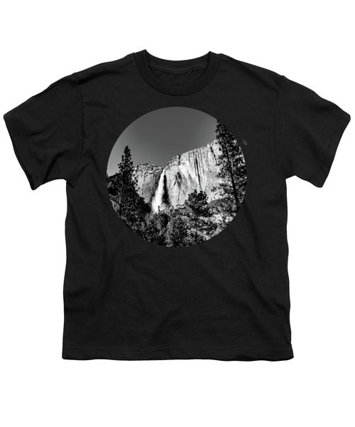 Upper Falls, Black And White Youth T-Shirt