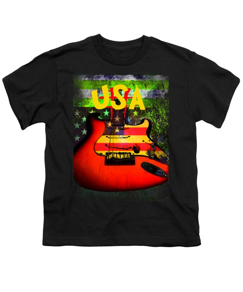 Youth T-Shirt featuring the photograph Usa Guitar Music by Guitar Wacky