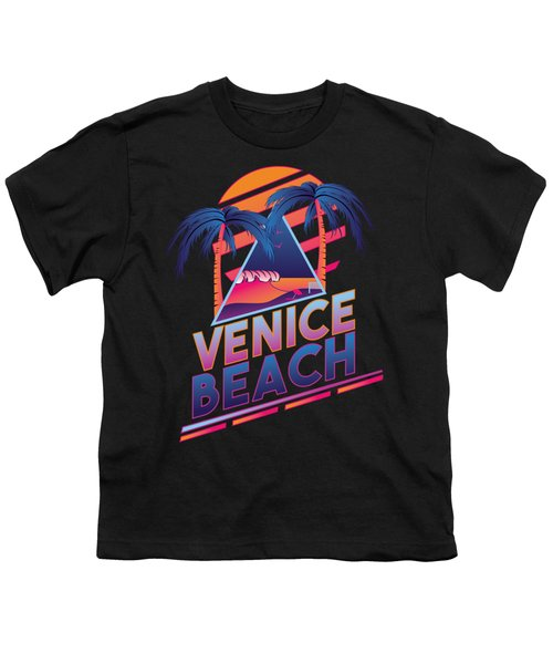 Venice Beach 80's Style Youth T-Shirt by Alek Cummings