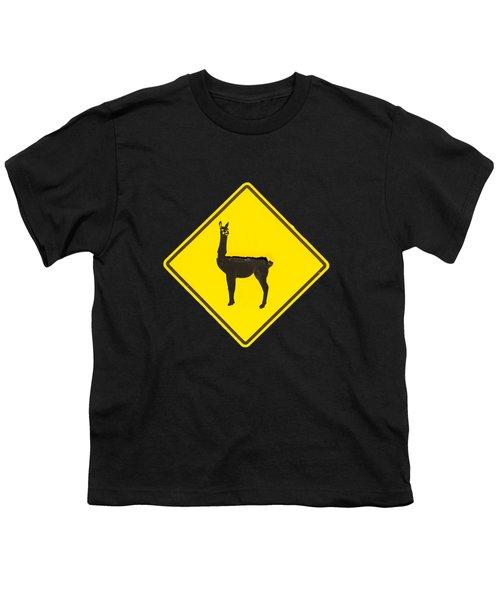 Warning Guanacos Youth T-Shirt by Mirko Chianucci