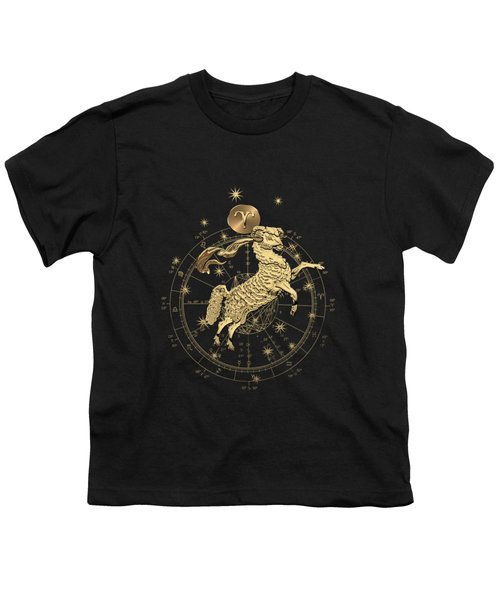 Western Zodiac - Golden Aries -the Ram On Black Canvas Youth T-Shirt