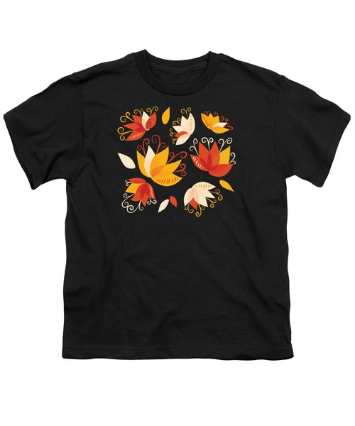 Whimsical Floral Pattern Of Abstract Lilies Youth T-Shirt