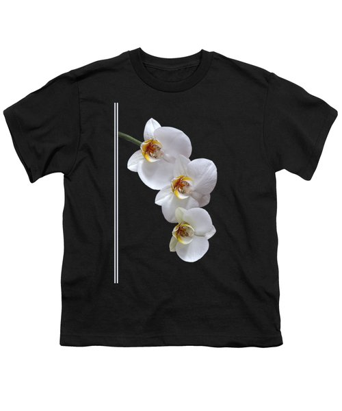 White Orchids On Black Vertical Youth T-Shirt by Gill Billington