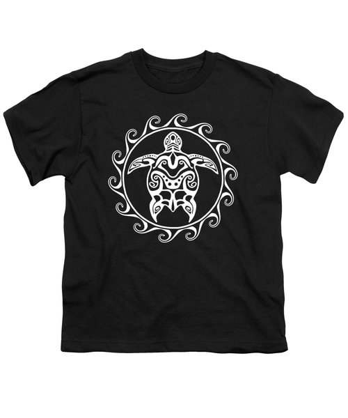 White Tribal Turtle Youth T-Shirt by Chris MacDonald