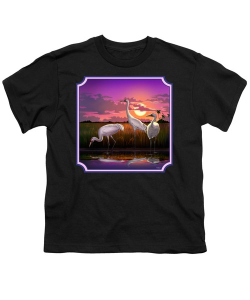 Whooping Cranes At Sunset Tropical Landscape - Square Format Youth T-Shirt by Walt Curlee