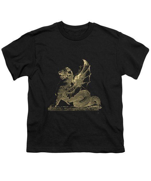 Winged Dragon Chimera From Fontaine Saint-michel, Paris In Gold On Black Youth T-Shirt by Serge Averbukh