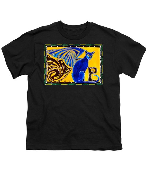 Youth T-Shirt featuring the painting Winged Feline - Cat Art With Letter P By Dora Hathazi Mendes by Dora Hathazi Mendes