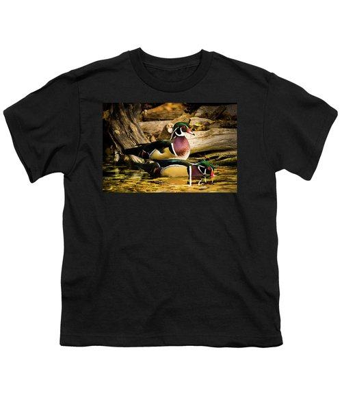 Wood Ducks In Autumn Waters Youth T-Shirt