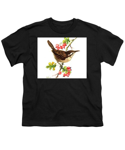 Wren And Rosehips Youth T-Shirt by Nell Hill