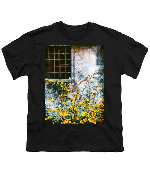 Youth T-Shirt featuring the photograph Yellow Flowers And Window by Silvia Ganora