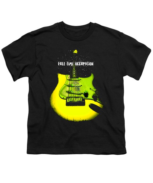 Youth T-Shirt featuring the photograph Yellow Guitar Full Time Occupation by Guitar Wacky