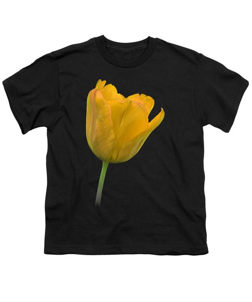 Yellow Tulip Open On Black Youth T-Shirt by Gill Billington