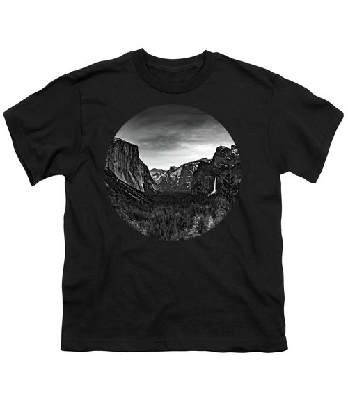 Yosemite Sunrise, Black And White Youth T-Shirt