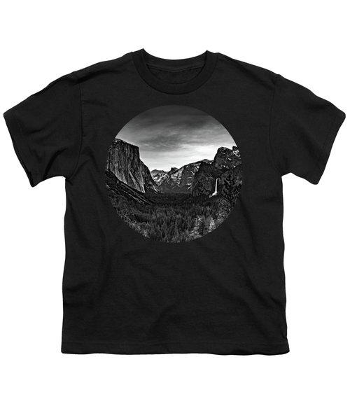 Yosemite Sunrise, Black And White Youth T-Shirt