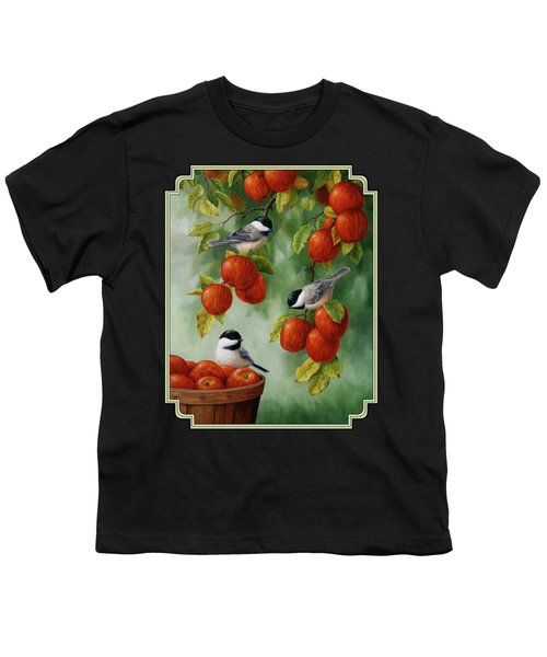 Bird Painting - Apple Harvest Chickadees Youth T-Shirt