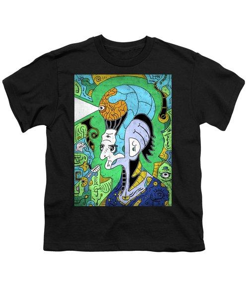 Youth T-Shirt featuring the digital art Brain-man by Sotuland Art