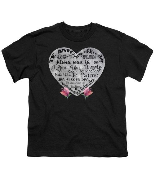 I Love You Chalkboard Heart, Flowers Youth T-Shirt