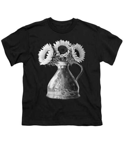 Sunflowers In Copper Pitcher In Mono Youth T-Shirt