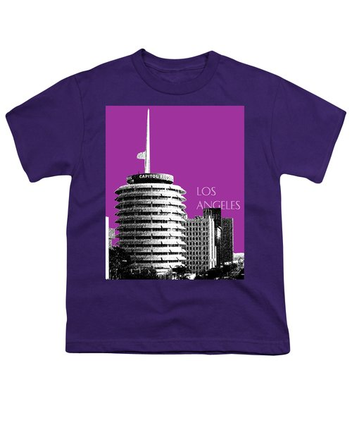 Los Angeles Skyline Capitol Records - Plum Youth T-Shirt
