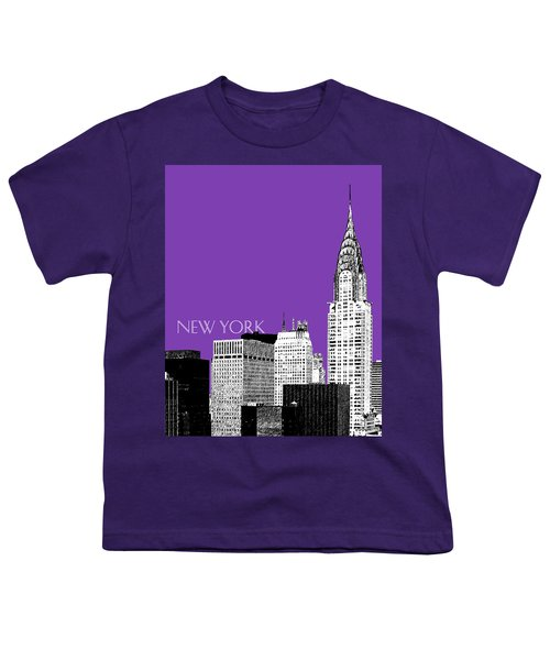New York Skyline Chrysler Building - Purple Youth T-Shirt