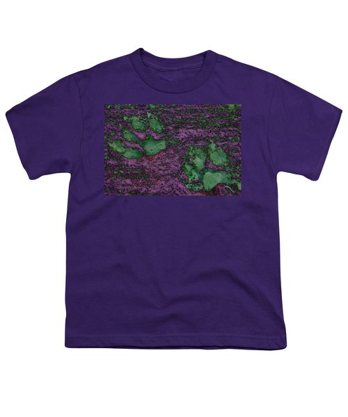 Paw Prints In Green And Mauve Youth T-Shirt