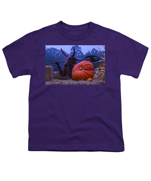 Pumpkin And Minotaur Youth T-Shirt by Garry Gay