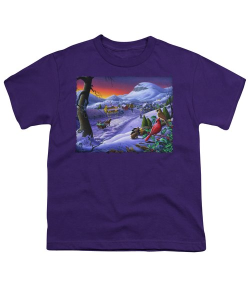 Christmas Sleigh Ride Winter Landscape Oil Painting - Cardinals Country Farm - Small Town Folk Art Youth T-Shirt