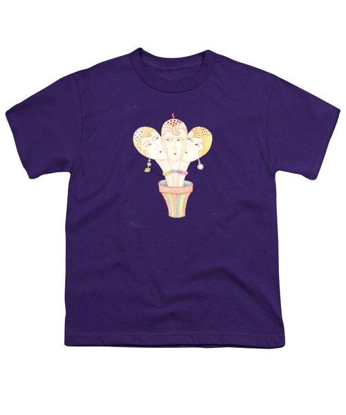 Flower Pot Ladies Youth T-Shirt by Nareeta Martin