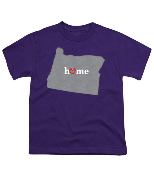 State Map Outline Oregon With Heart In Home Youth T-Shirt by Elaine Plesser