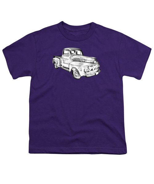 1951 Ford F-1 Pickup Truck Illustration  Youth T-Shirt