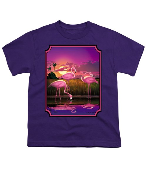 Flamingoes Flamingos Tropical Sunset Landscape Florida Everglades Large Hot Pink Purple Print Youth T-Shirt