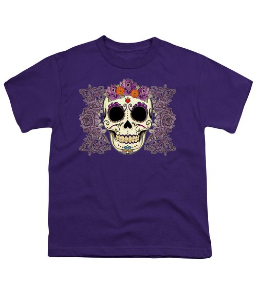 Vintage Sugar Skull And Roses Youth T-Shirt by Tammy Wetzel