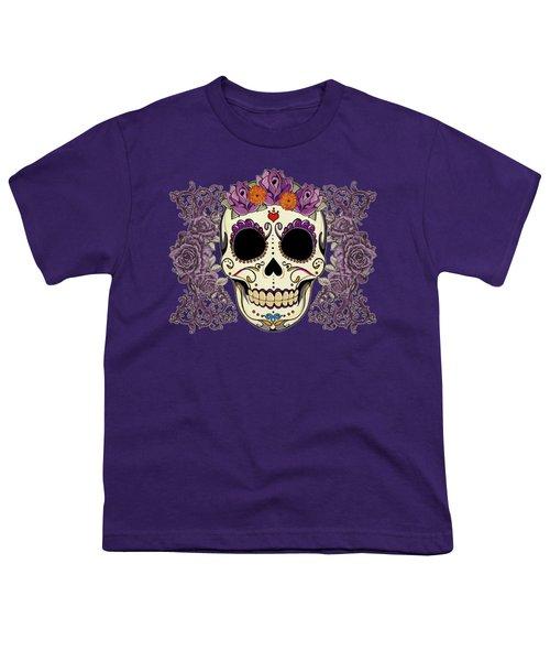 Vintage Sugar Skull And Roses Youth T-Shirt