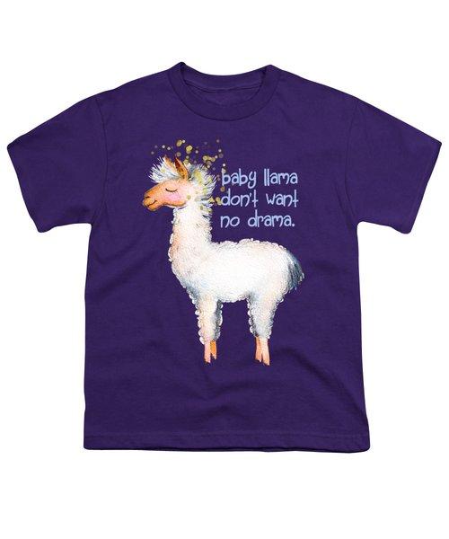 Baby Llama Don't Want No Drama Youth T-Shirt