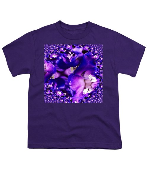 Blue Delphinium Abstracted Youth T-Shirt by Anna Porter
