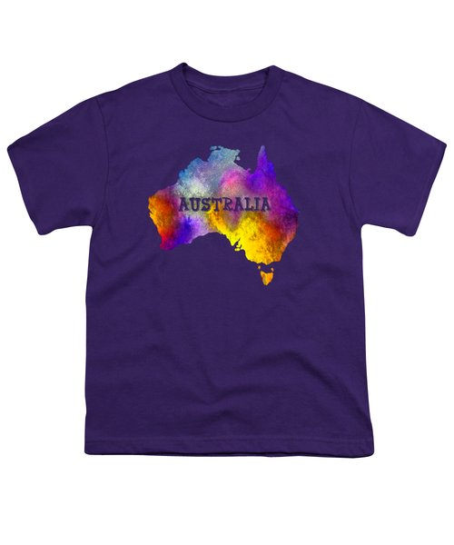 Colorful Australia Youth T-Shirt by Kaye Menner