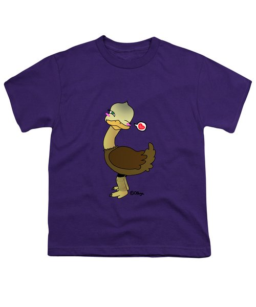 Cute Ostrich Youth T-Shirt by Olluga Gifts