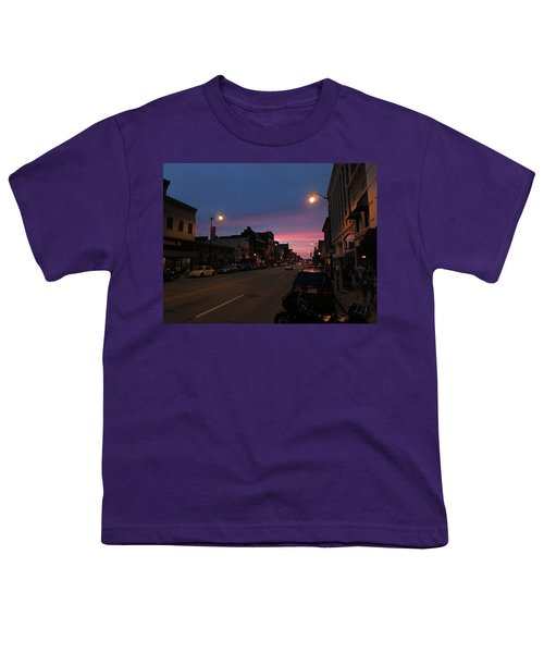 Youth T-Shirt featuring the photograph Downtown Racine At Dusk by Mark Czerniec