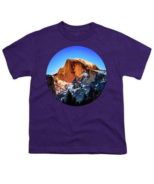 Half Dome Aglow Youth T-Shirt by Adam Morsa