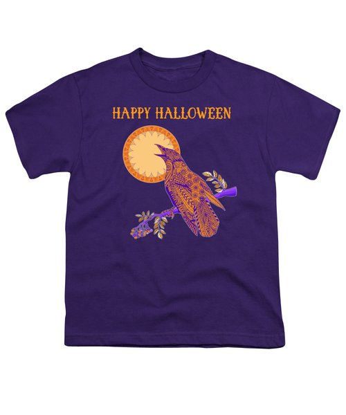 Halloween Crow And Moon Youth T-Shirt by Tammy Wetzel